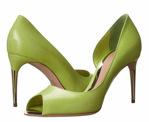 Lime Green Leather High Heeled Shoes