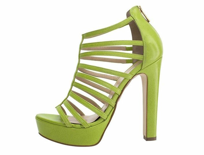 Lime Green Strippy Sandals
